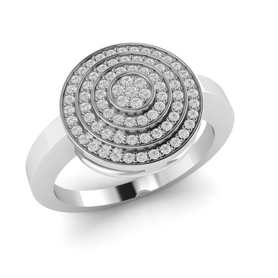 Round Pave Diamond Ring